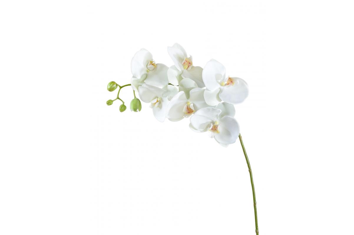 Орхидея Фаленопсис с бутонами искусственная белая 100 см (Real Touch)