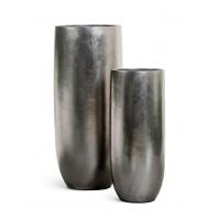 Кашпо Treez Effectory Metal высокий округлый конус стальное серебро от 72 до 95 см