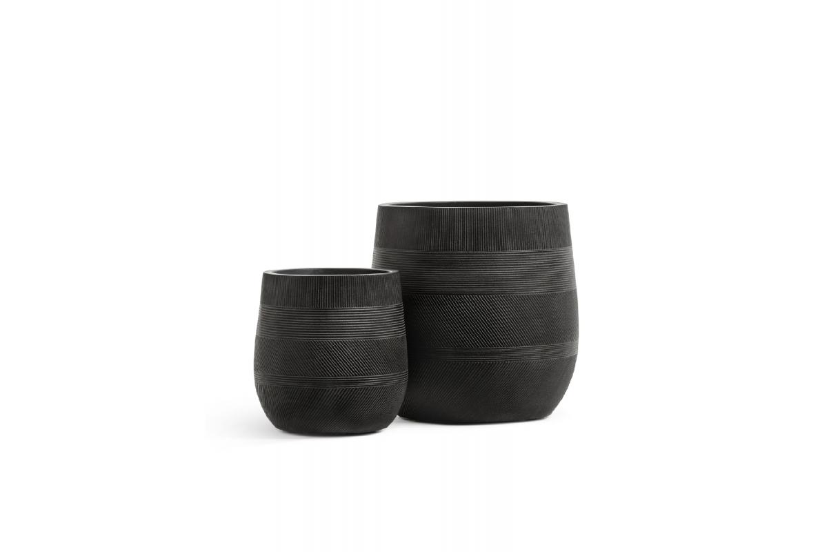 Кашпо Treez Ergo Graphics округлая чаша черный графит от 31 до 43 см