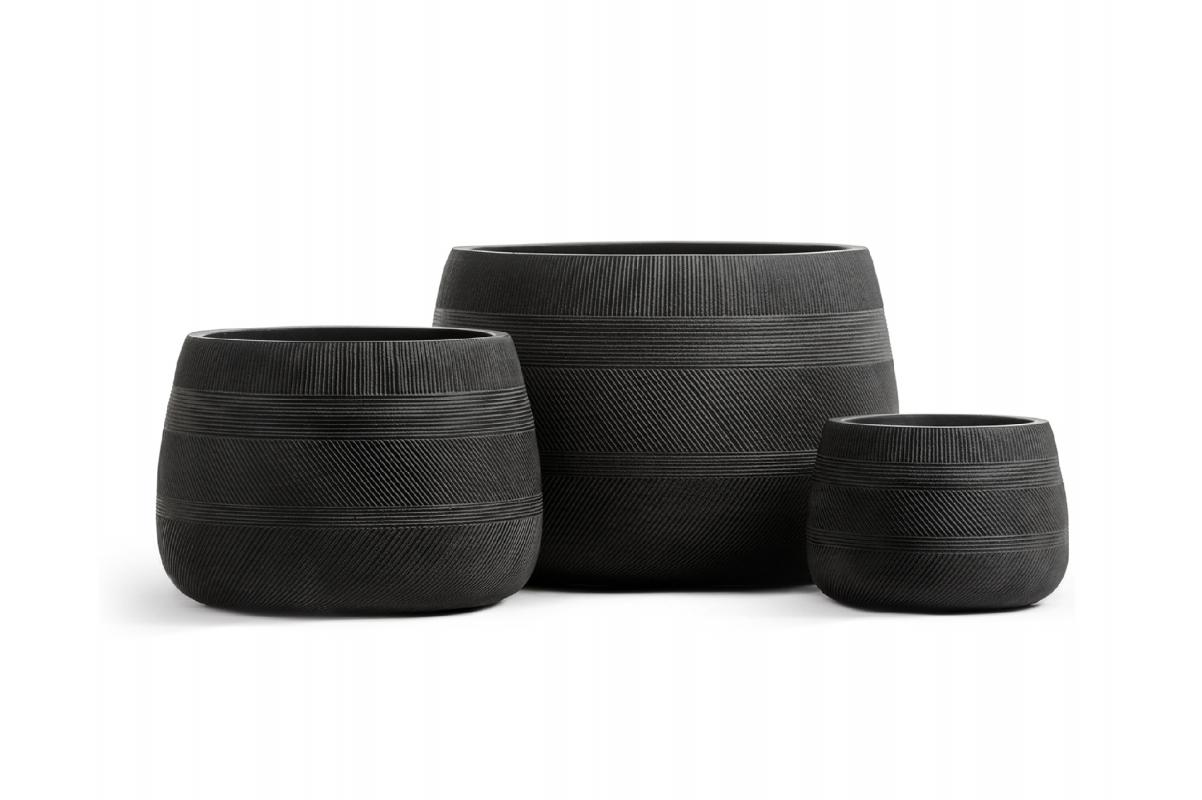 Кашпо Treez Ergo Graphics низкая чаша черный графит 20 до 37 см