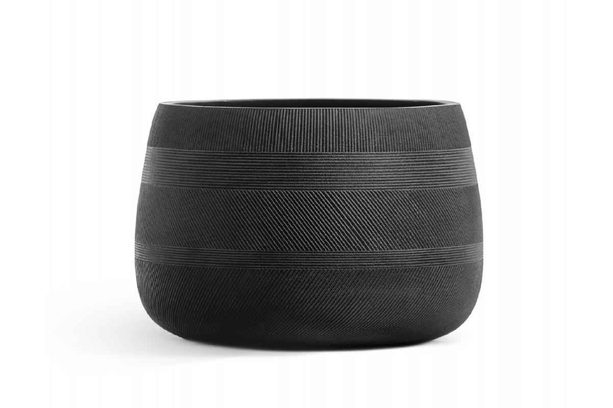 Кашпо Treez Ergo Graphics низкая чаша черный графит 20 до 37 см - Фото 2