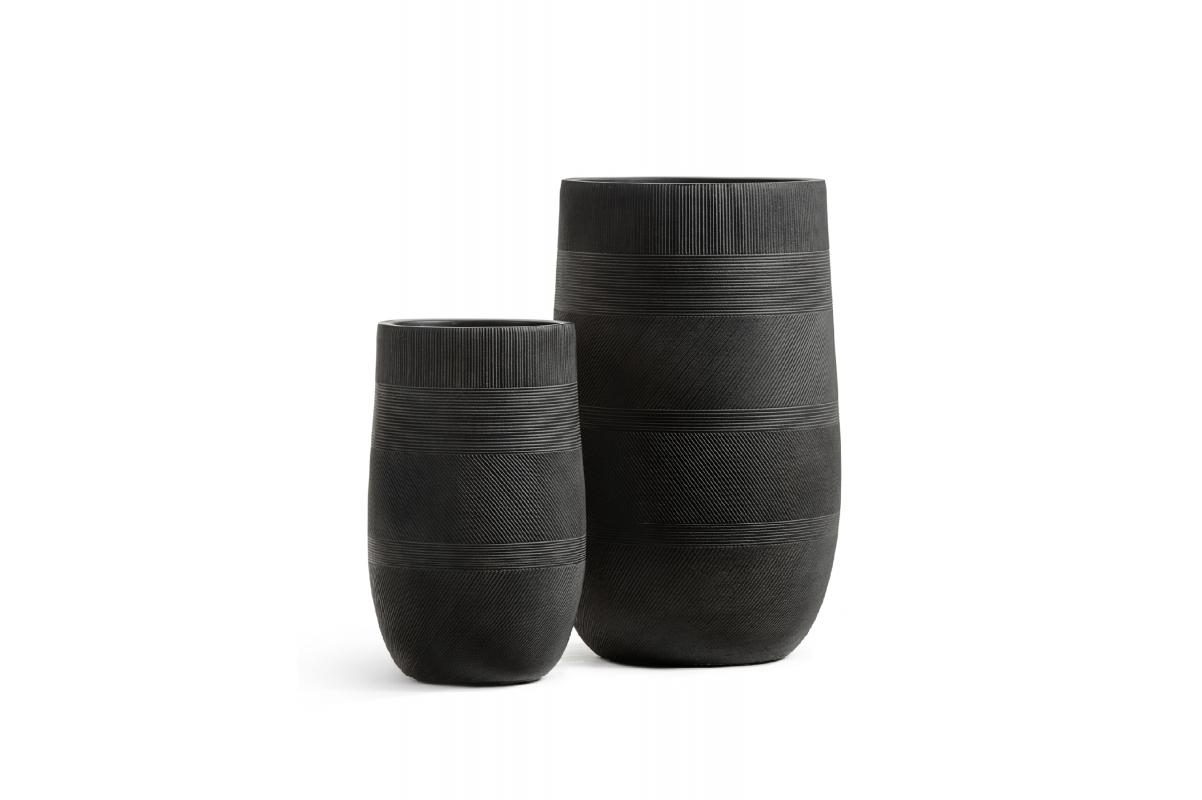 Кашпо Treez Ergo Graphics высокая округлая чаша черный графит от 54 до 75 см