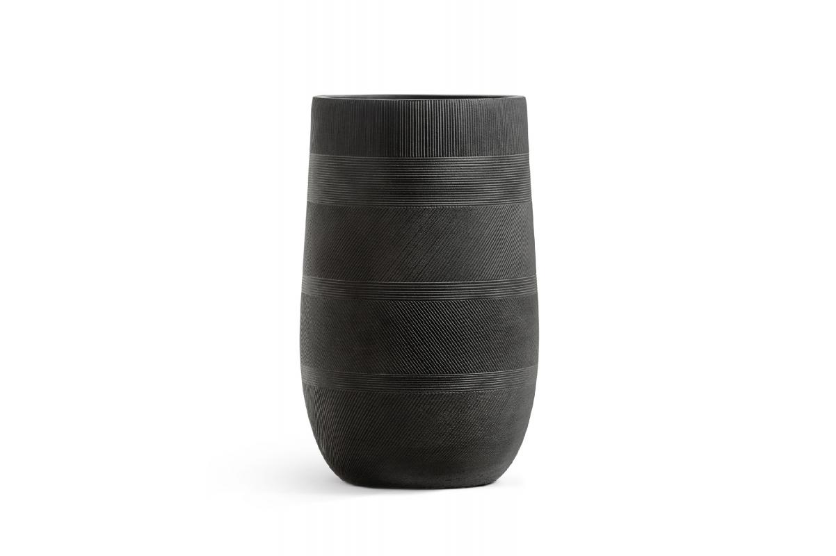 Кашпо Treez Ergo Graphics высокая округлая чаша черный графит от 54 до 75 см - Фото 2