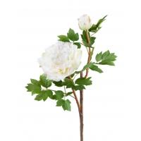 Пион ветвь малая искусственный белый 35 см