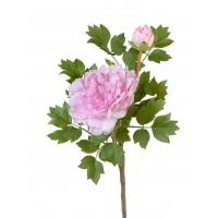 Пион ветвь малая искусственный нежно-розовый 35 см