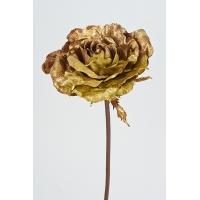 Роза новогодняя искусственная золотая 60 см
