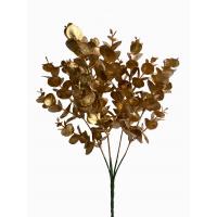 Ветка Эвкалипта искусственная новогодняя золотая 34 см