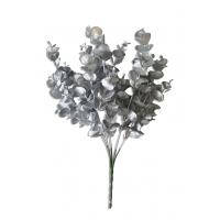 Ветка Эвкалипта искусственная новогодняя серебряная 34 см