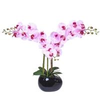 Орхидея Фаленопис 3 ветки искусственная светло-розовая 64 см