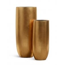 Кашпо Treez Effectory Metal высокий округлый конус сусальное золото от 72 до 95 см