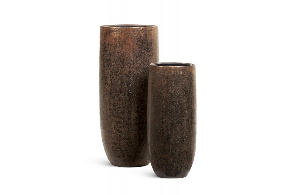 Кашпо Treez Effectory Metal высокий округлый конус Rough с золотой патиной от 72 до 95 см