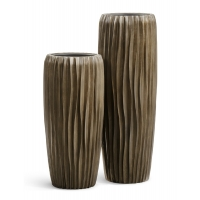 Кашпо Treez Effectory Metal высокий конус Design Wave чернёная бронза от 75 до 97 см