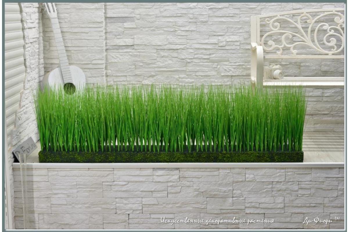 Трава Осока искусственная в модуле для установки в кашпо или ниши, h44х150х20см - Фото 7