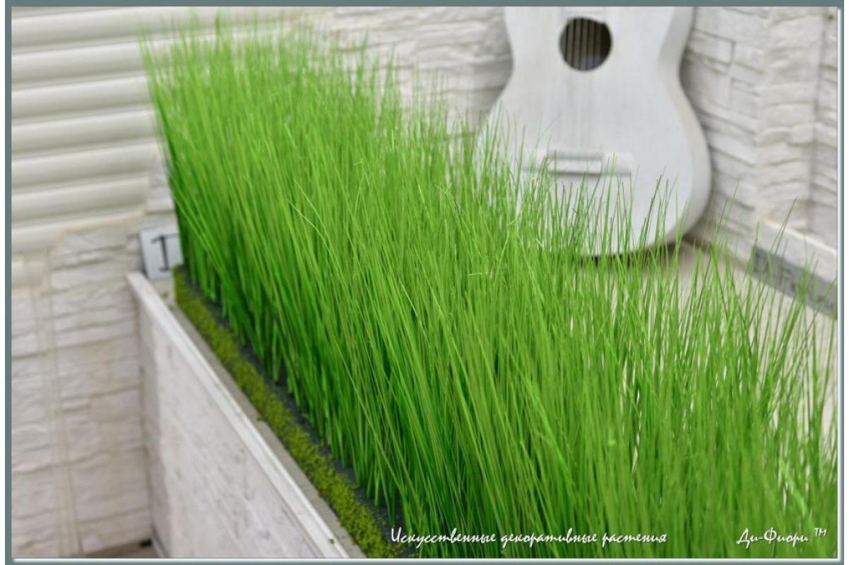 Трава Осока искусственная в модуле для установки в кашпо или ниши, h44х150х20см - Фото 2