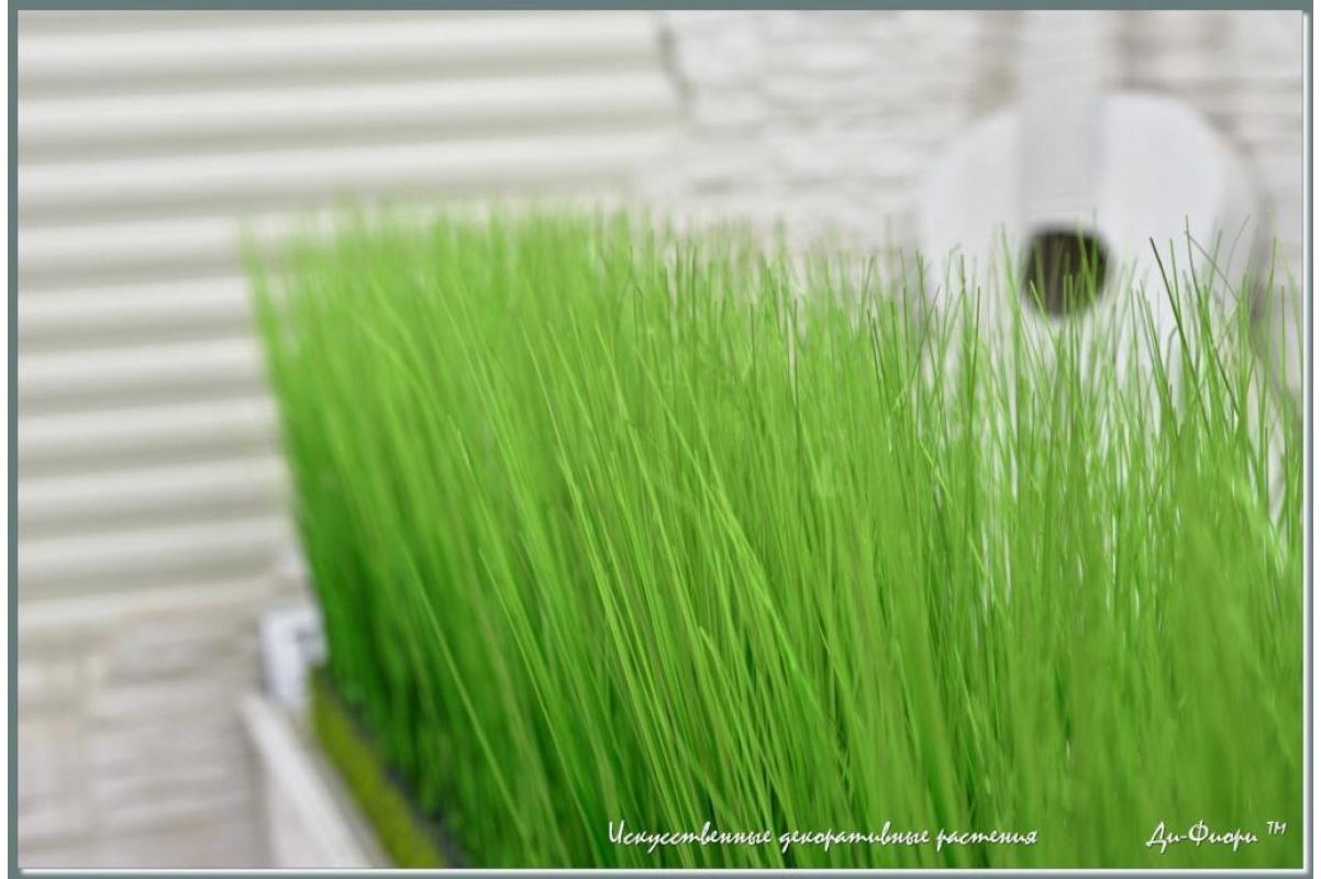 Трава Осока искусственная в модуле для установки в кашпо или ниши, h44х150х20см - Фото 3