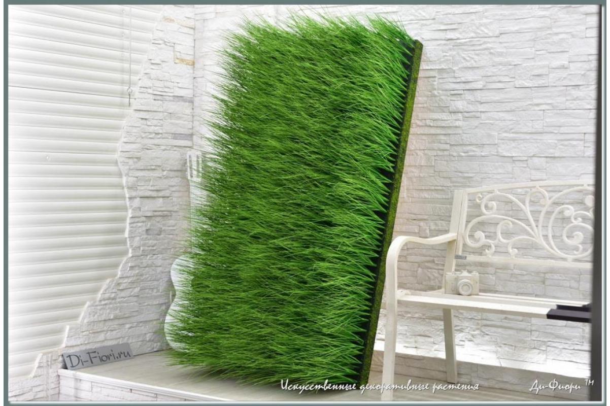 Трава Осока искусственная в модуле для установки в кашпо или ниши, h44х150х20см - Фото 4