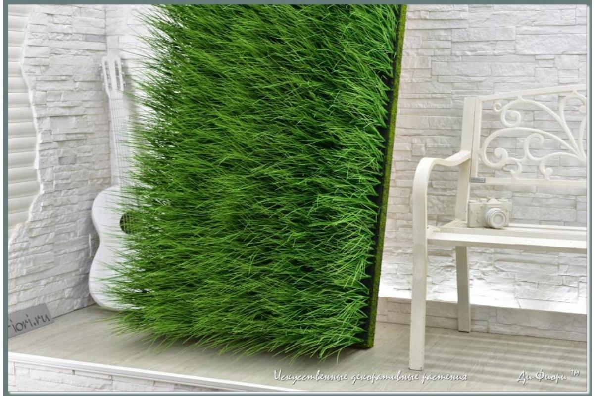Трава Осока искусственная в модуле для установки в кашпо или ниши, h44х150х20см - Фото 6