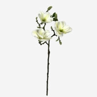 Магнолия ветка цветущая искусственная белая 3 цветка 55 см