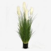 Трава Пампасная Кортадерия искусственная с белыми пушистыми метелками 120 см