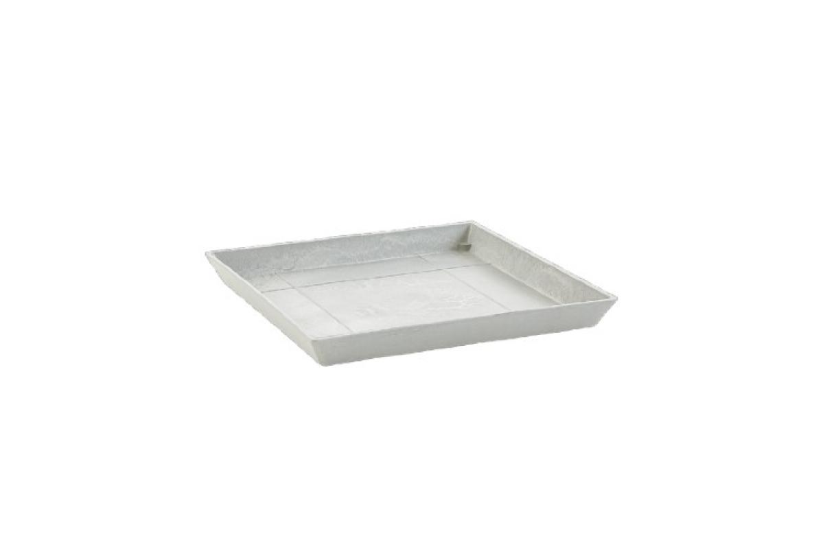Поддон Экопотс квадратный L21 W21 H2,5 см светло-серый