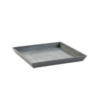 Поддон Экопотс квадратный L21 W21 H2,5 см серый