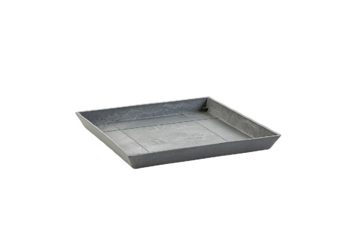 Поддон Экопотс квадратный L35,5 W35,5 H3,5 см серый