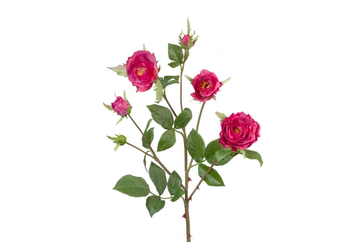 Роза Вайлд ветвь искусственная темно-малиновая 41 см