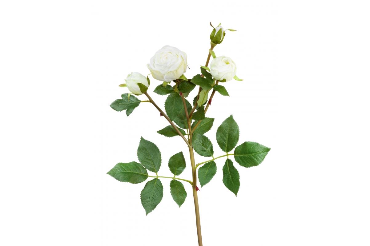 Роза Пале-Рояль ветвь искусственная бело-зеленая 47 см
