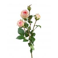 Роза Пале-Рояль ветвь искусственная светло-розовая 47 см