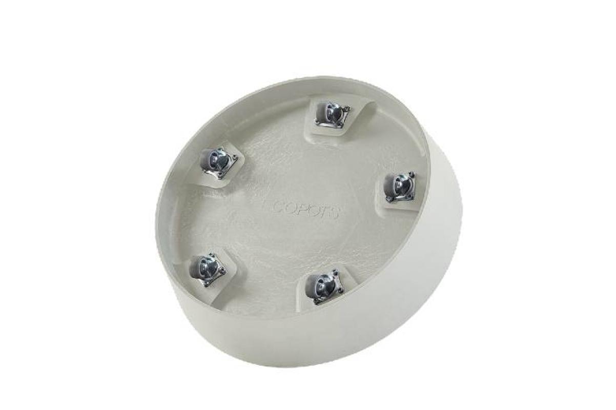 Поддон Экопотс круглый D41,6 H9 см светло-серый с колесами - Фото 2