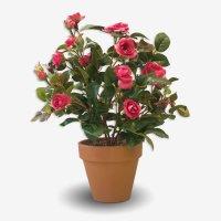 Роза кустовая искусственная темно-розовая в терракотовом кашпо 35 см