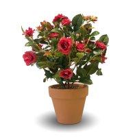 Роза кустовая искусственная красная в терракотовом кашпо 35 см