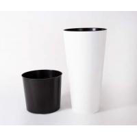 Кашпо пластиковое с контейнером Тубус Слим глянцевое белое