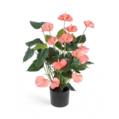 Антуриум Де Люкс большой куст искусственный нежно-розовый в кашпо 75 см