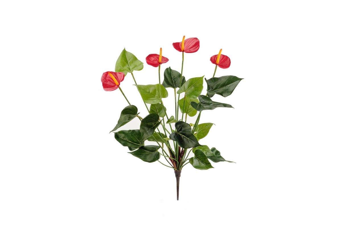 Антуриум Де Люкс куст искусственный красный 45 см