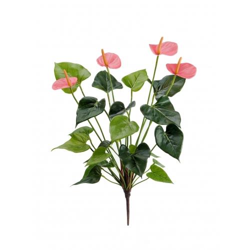 Антуриум куст Де Люкс искусственный нежно-розовый 45 см