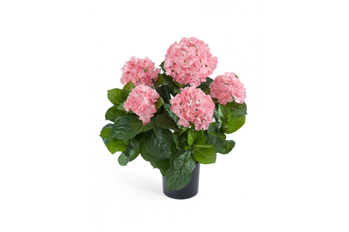 Искусственная Гортензия куст большой розовый в горшке 55 см