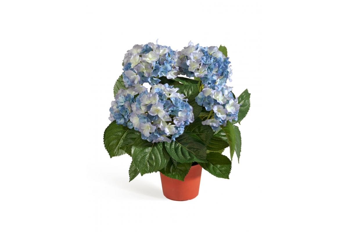 Искусственная Гортензия куст темно-голубой в горшке 35 см