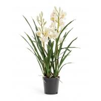 Искусственная Орхидея Цимбидиум белая куст в кашпо 2 ветки 100 см