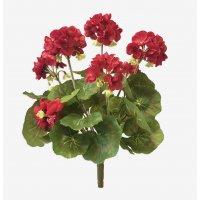 Герань махровая куст искусственная красная 37 см (без кашпо)