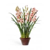Искусственная Орхидея Цимбидиум куст светло-розовый большой в кашпо 115 см