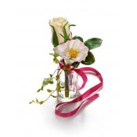 Композиция Розы Микс искусственная с лентой 15 см