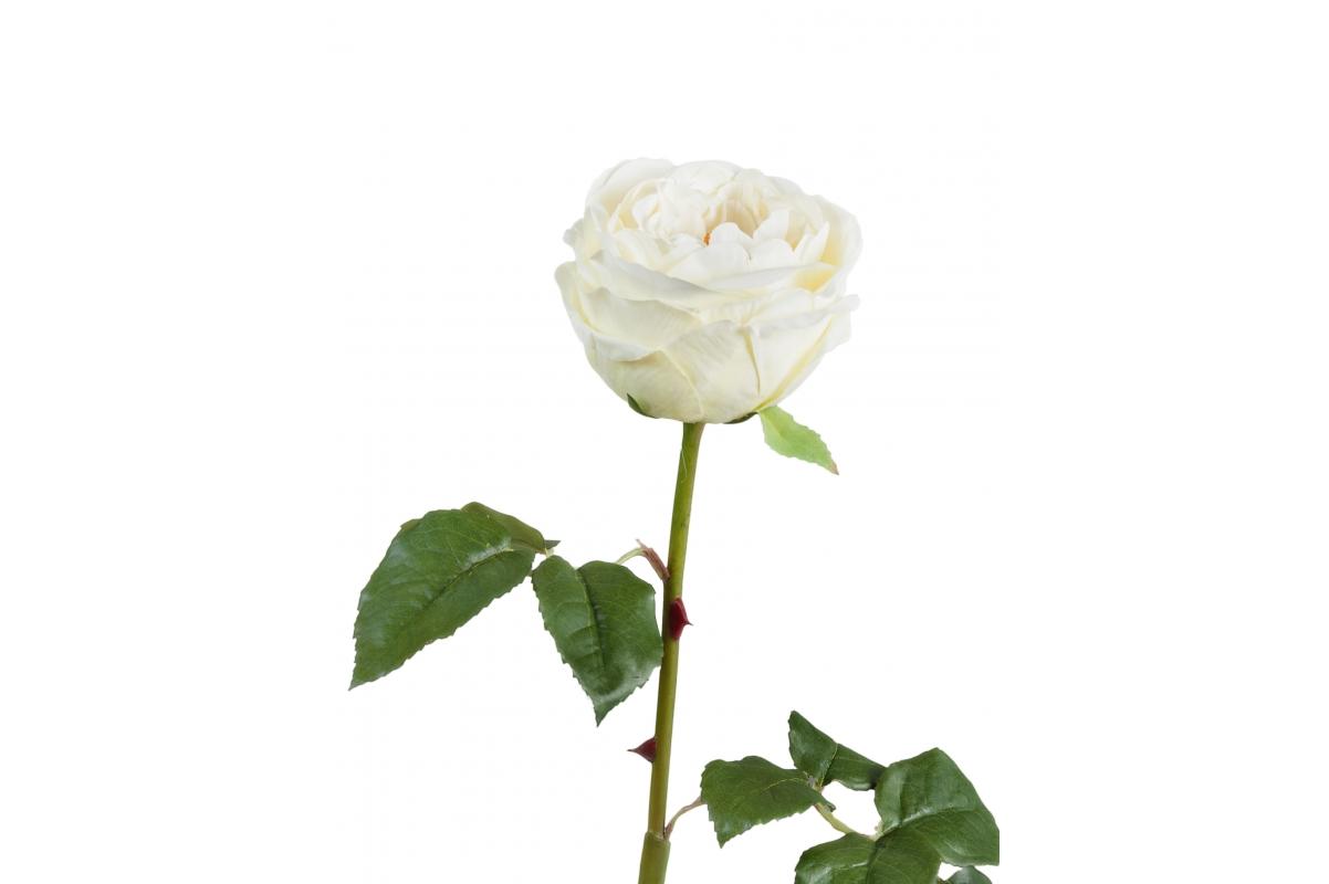 Роза Джема искусственная белая 56 см