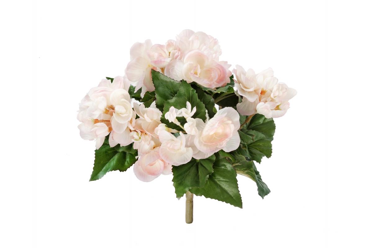 Бегония искусственная цветущая куст св. розовый с кремовым 15 см