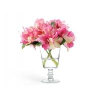 Композиция из Рододендронов искусственных темно-розовых в стеклянной вазе с водой 28 см