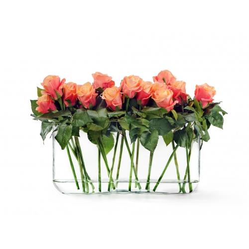 Композиция из Роз искусственных розово-персиковых в дизайн стекле с водой 35 см