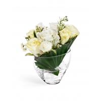 Композиция Розы малые в Пальмовом  листе искусственные с кристаллами в воде 23 см