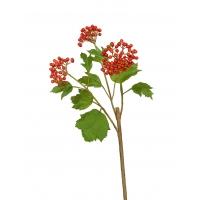 Калина Бульдонеж искусственная ветвь с ягодами красно-оранжевая 75 см
