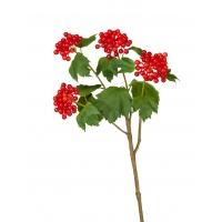 Калина бульдонеж ветвь искусственная с ягодами алая 66 см