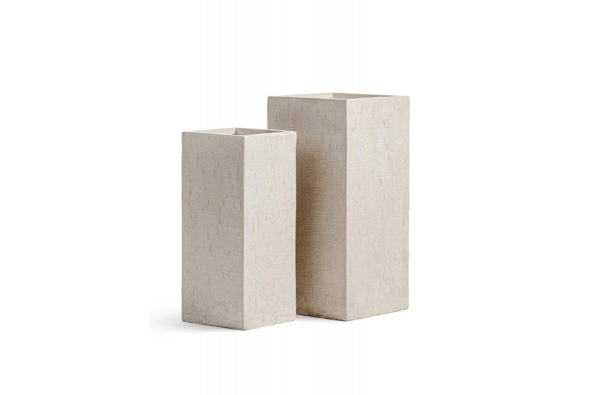 Кашпо Treez Ergo Cork кубическое высокое белый песок от 50 до 70 см - Фото 2